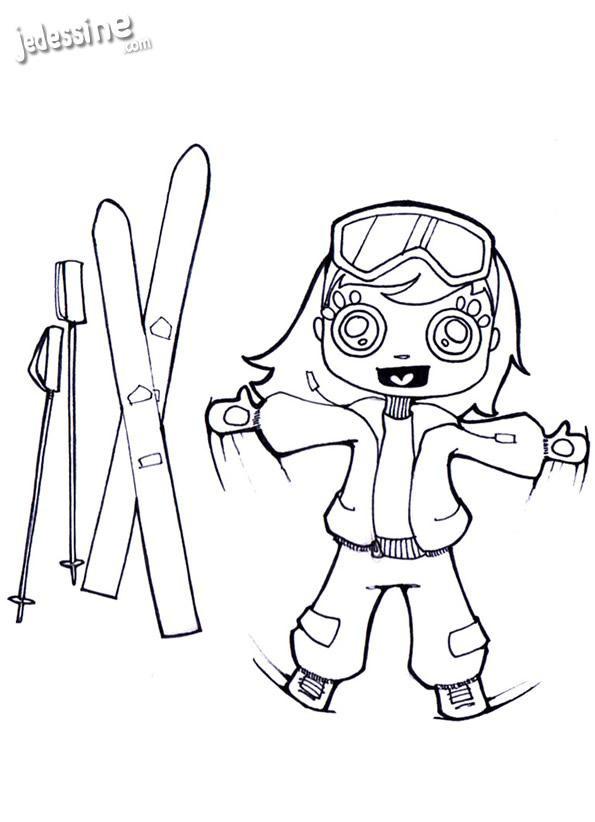 Coloriage et dessins gratuits Skieuse Kawaii à imprimer