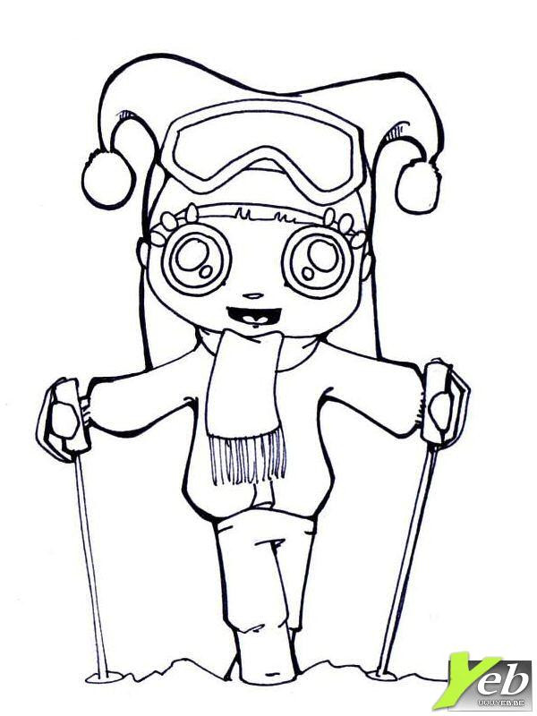 Coloriage et dessins gratuits Skieuse Kawaii mignonne à imprimer