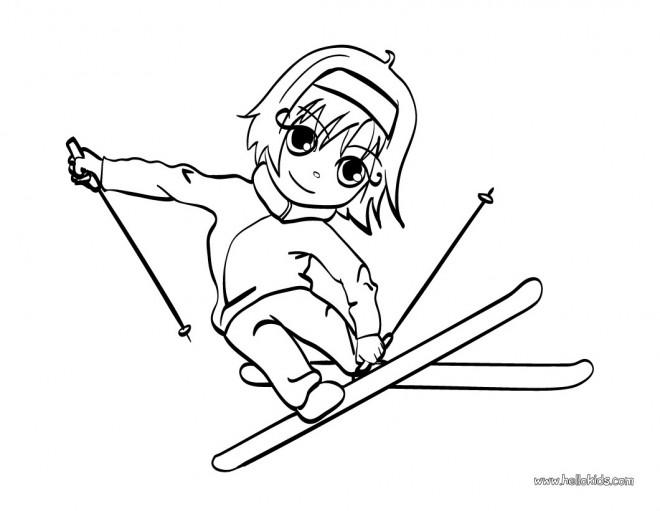 Coloriage et dessins gratuits Un Petit Skieur à imprimer