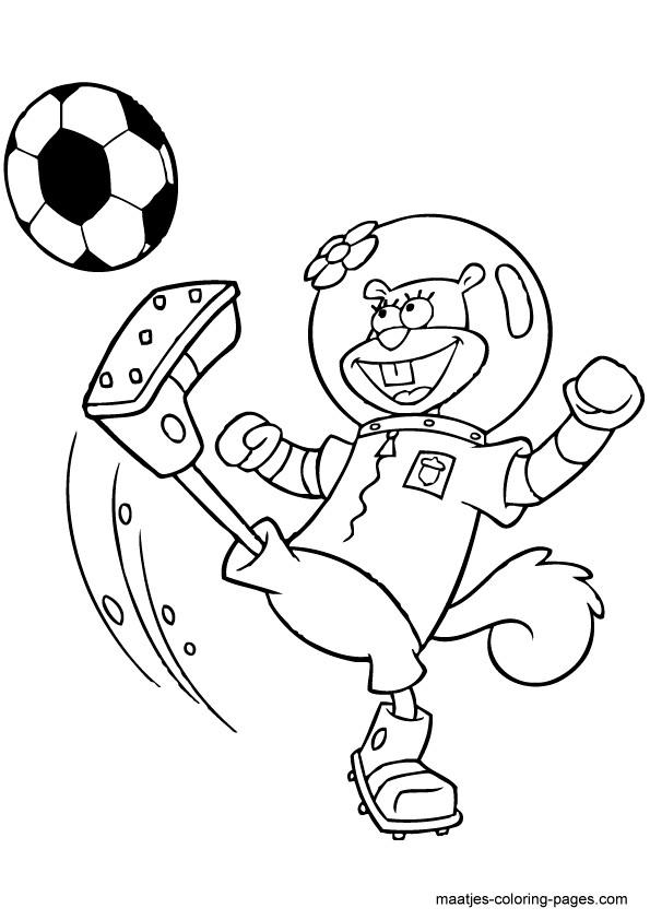 Coloriage et dessins gratuits Astronaute joue au Soccer à imprimer