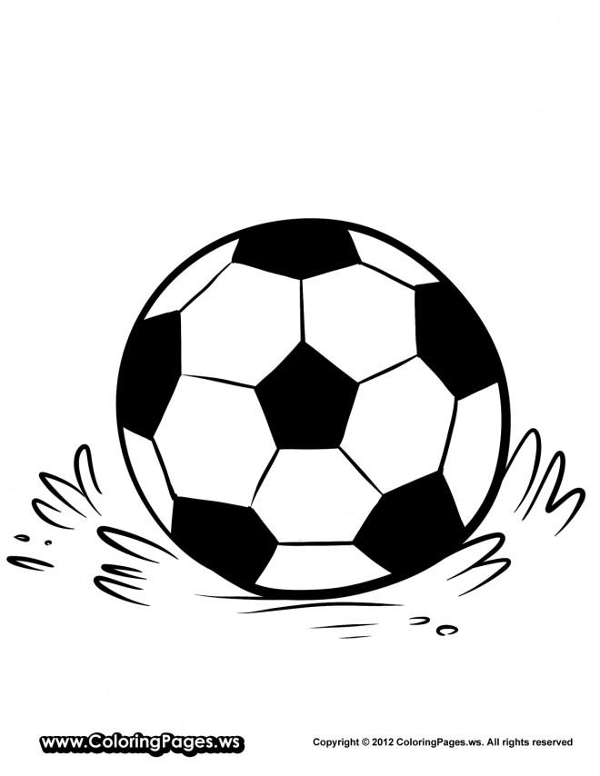 Coloriage et dessins gratuits Ballon de Soccer sur le terrain à imprimer