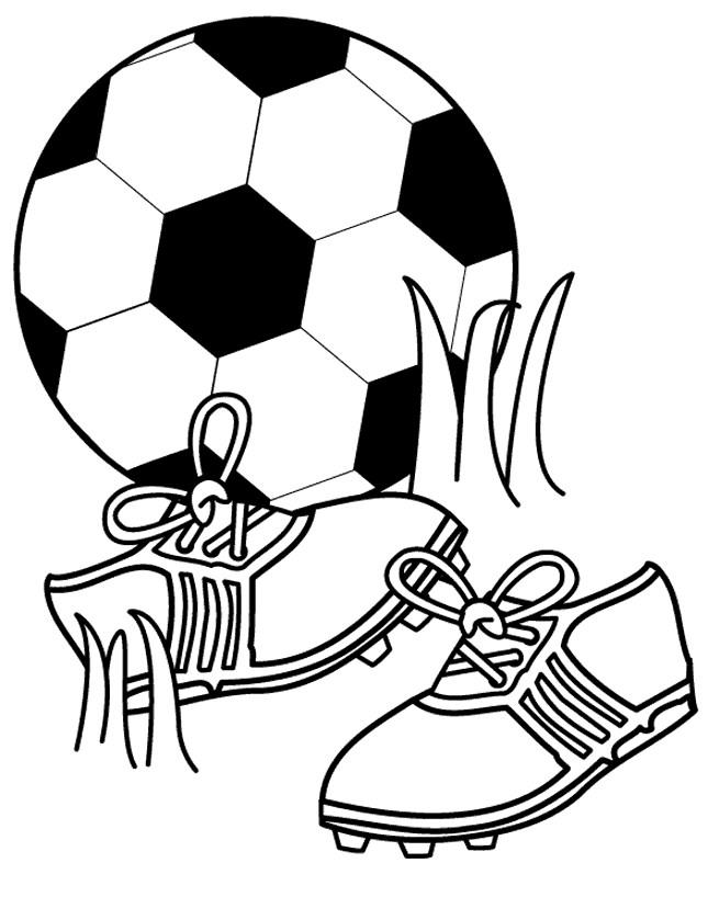 Coloriage et dessins gratuits Chaussures et Ballon de Soccer à imprimer