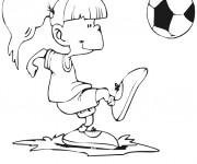 Coloriage Fille en jouant avec le ballon Soccer