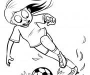 Coloriage et dessins gratuit Fille joue au Soccer à imprimer