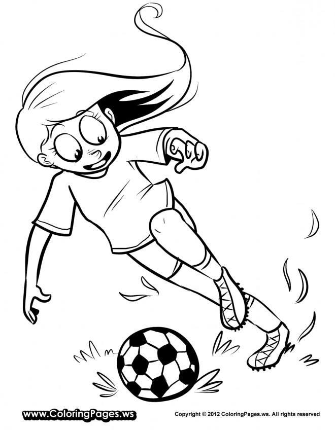 Coloriage et dessins gratuits Fille joue au Soccer à imprimer
