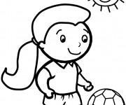Coloriage Fille soccer sous le soleil