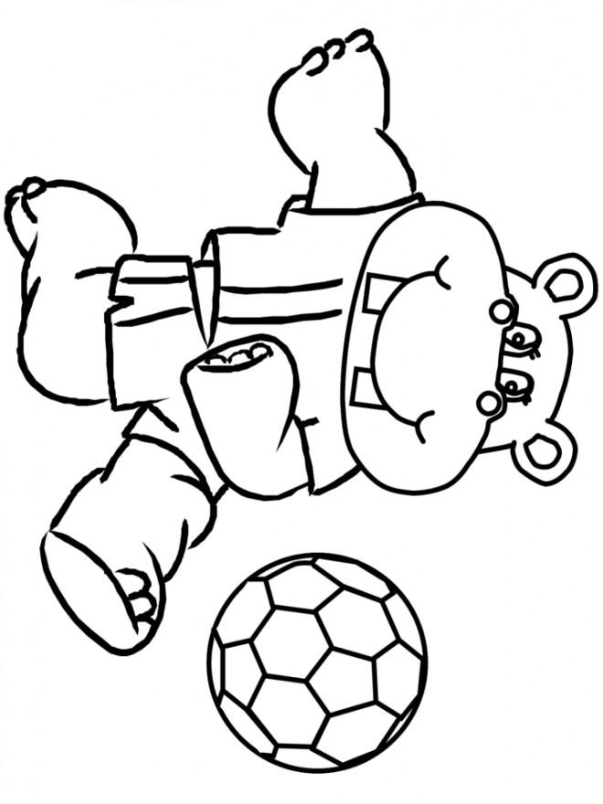 Coloriage et dessins gratuits Hippopotame joueur de Soccer à imprimer