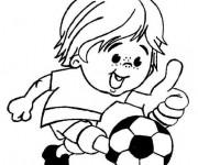 Coloriage et dessins gratuit Joueur de Football mignon à imprimer