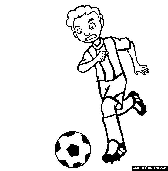 Coloriage et dessins gratuits Joueur de Soccer en attaque à imprimer