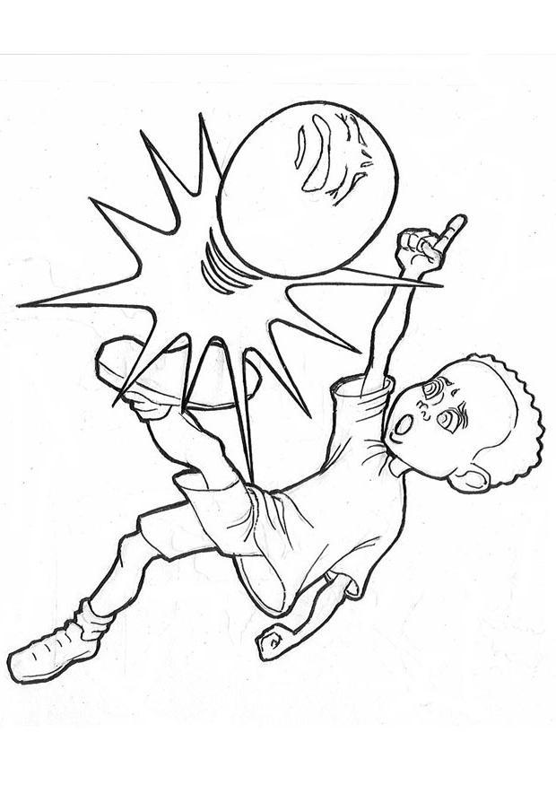 Coloriage et dessins gratuits Joueur de Soccer et ballon misérable à imprimer