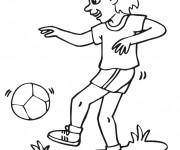 Coloriage et dessins gratuit Joueur Soccer dribble le ballon à imprimer