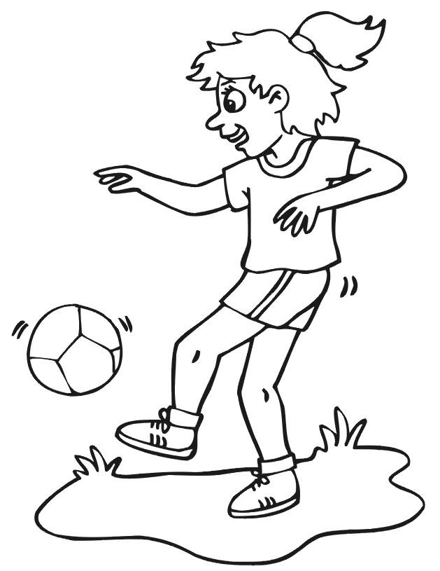 Coloriage et dessins gratuits Joueur Soccer dribble le ballon à imprimer