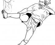 Coloriage Joueur Soccer et ballon bizarre