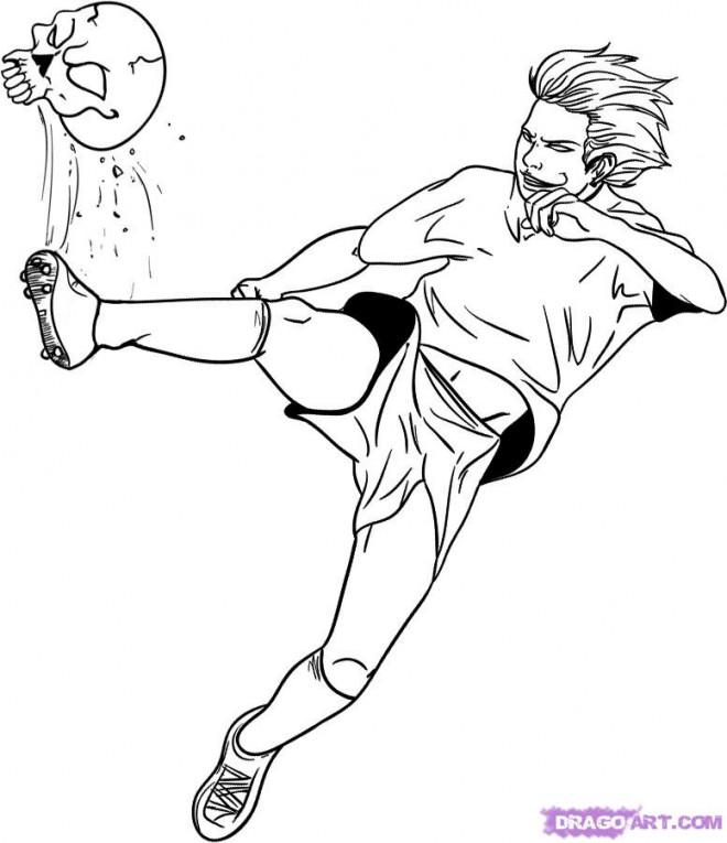 Coloriage et dessins gratuits Joueur Soccer et ballon bizarre à imprimer