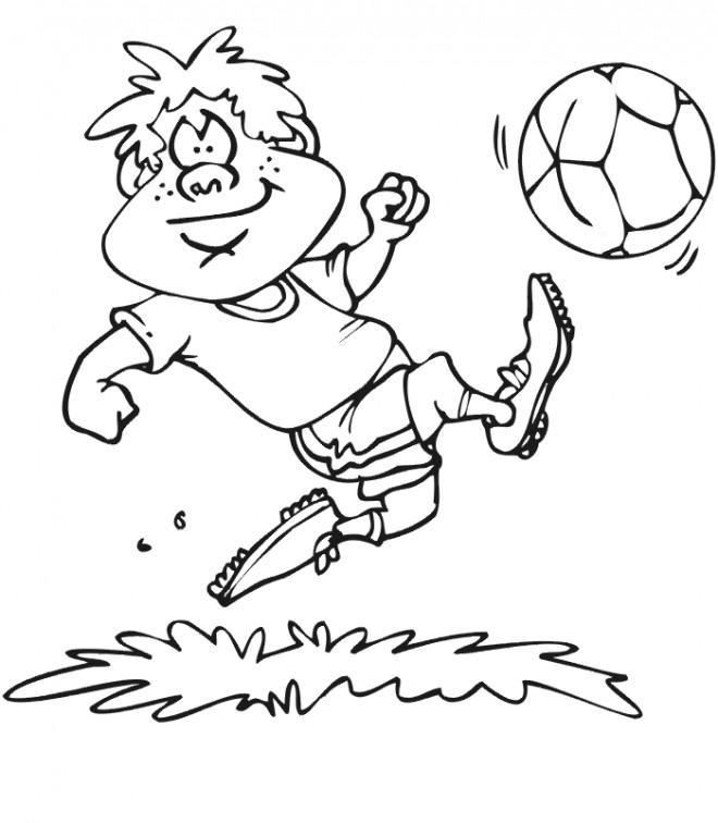 Coloriage et dessins gratuits Joueur Soccer humoristique à imprimer