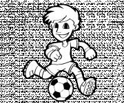 Coloriage et dessins gratuit Petit joueur de Soccer vecteur à imprimer