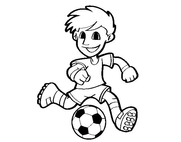 Coloriage et dessins gratuits Petit joueur de Soccer vecteur à imprimer