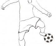 Coloriage Soccer Joueur et ballon couleur