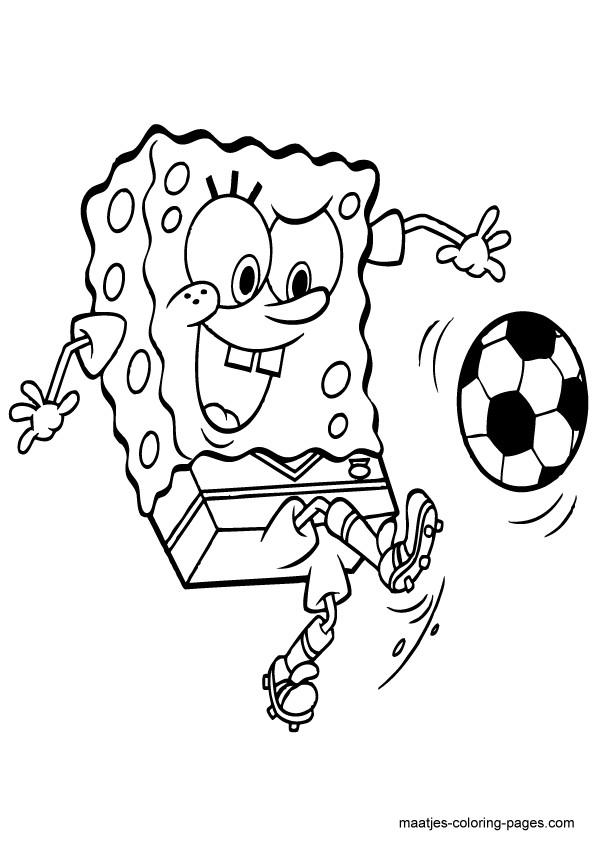 Coloriage et dessins gratuits Soccer Spongebob qui dribble le ballon à imprimer