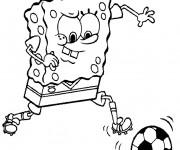 Coloriage Spongebob et Ballon Soccer