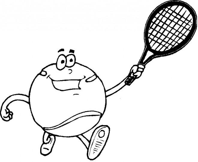 Coloriage et dessins gratuits Balle de Tennis rigolote à imprimer