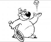 Coloriage et dessins gratuit Chien rigolo qui joue au Tennis à imprimer