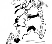 Coloriage Dingo joue au Tennis Disney