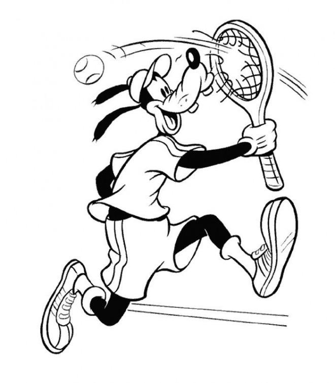 Coloriage et dessins gratuits Dingo joue au Tennis Disney à imprimer