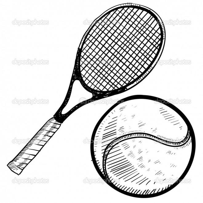 Coloriage et dessins gratuits Équipements de Tennis vecteur à imprimer