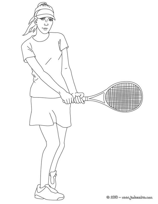 Coloriage et dessins gratuits Fille joue au Tennis à imprimer