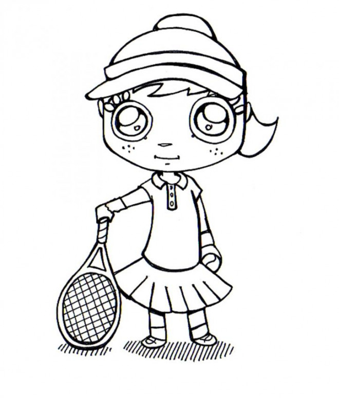 Coloriage et dessins gratuits Fille joueur de Tennis Kawaii à imprimer