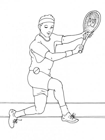 Coloriage et dessins gratuits Joueur de Tennis à découper à imprimer
