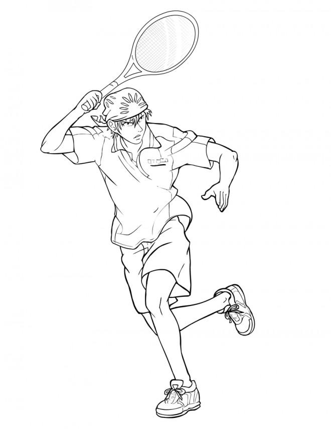 Coloriage et dessins gratuits Joueur de Tennis à télécharger à imprimer