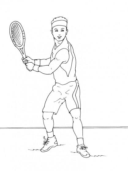 Coloriage et dessins gratuits Joueur de Tennis au Crayon à imprimer