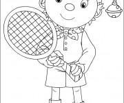 Coloriage et dessins gratuit Joueur de Tennis dessin animé à imprimer