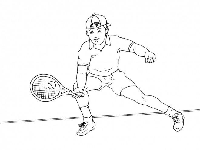 Coloriage et dessins gratuits Joueur de Tennis en couleur à imprimer