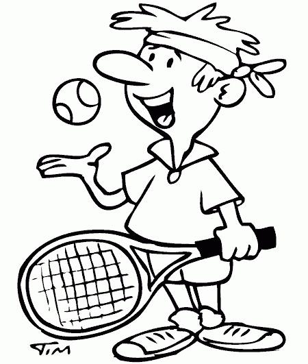 Coloriage et dessins gratuits Joueur de Tennis en Ligne à imprimer