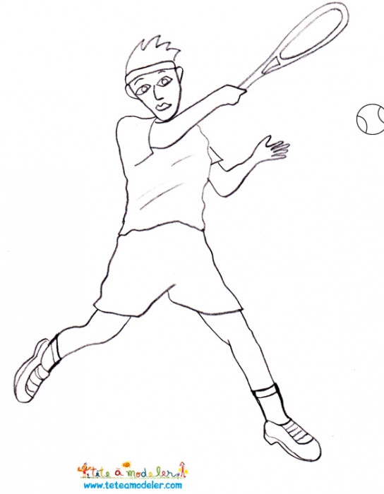 Coloriage et dessins gratuits Joueur de Tennis facile à imprimer