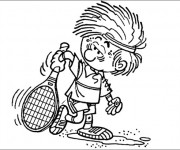 Coloriage et dessins gratuit Joueur de Tennis humoristique à imprimer