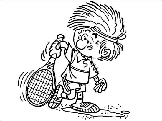 Coloriage et dessins gratuits Joueur de Tennis humoristique à imprimer