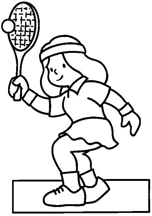 Coloriage et dessins gratuits Joueur frappe La Balle de Tennis à imprimer