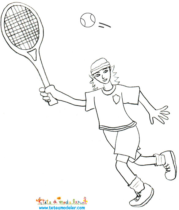 Coloriage et dessins gratuits Joueur portant La Raquette de Tennis à imprimer