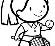 Coloriage et dessins gratuit La Fille joue au Tennis à imprimer