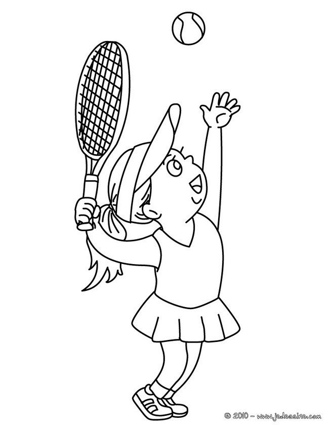 Coloriage et dessins gratuits La Fille lance La Balle de Tennis à imprimer