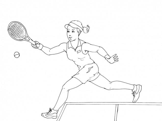 Coloriage et dessins gratuits La Fille Tennis lance La Balle à imprimer