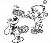 Coloriage et dessins gratuit Le Chien qui joue au Tennis à imprimer