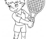 Coloriage et dessins gratuit Le Garçon joue au Tennis à imprimer