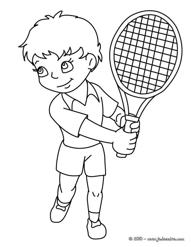Coloriage et dessins gratuits Le Garçon joue au Tennis à imprimer
