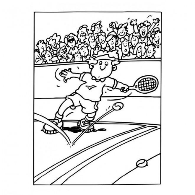 Coloriage et dessins gratuits Le Joueur de Tennis rate La Balle à imprimer
