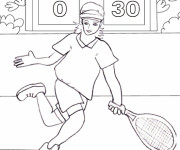 Coloriage Le Match de Tennis au crayon